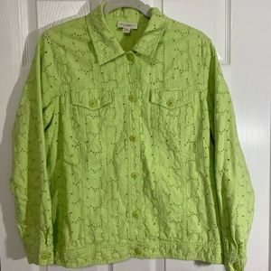 APPLESEED'S Lime Green Eyelet Embroidered Jacket